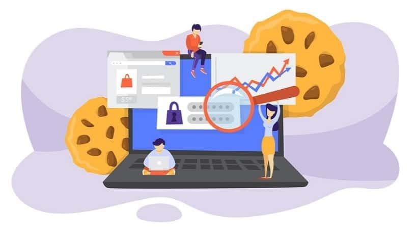 imagem de um biscoito com computador representando o cookie